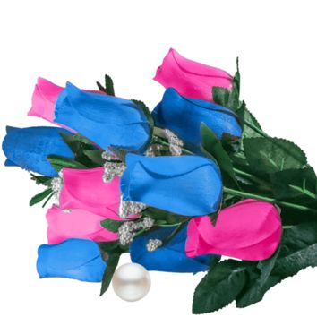 Baby Blue & Pink Bouquet | Pearl Roses®