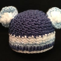 Fluffy and Cozy Baby Boy Bear Hat - Size Preemie, Newborn, Baby, and Toddler