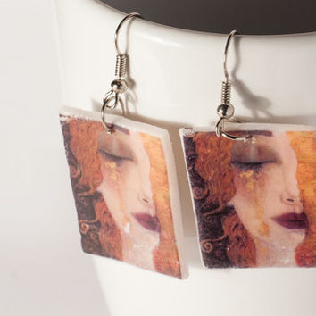 Gustav Klimt Earrings , Boho earrings , Jugend style earring , Art Nouveau Earrings , Gustav Klimt art,  Fimo Jewelry , Secession Jewelry