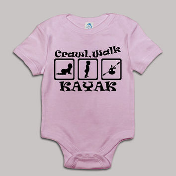 Crawl Walk Kayak Baby Bodysuit Baby Shower Baby Onesuit Baby Suit Baby One New Born Boy Girl Kids Child Children Clothes Gift Present