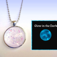 Snow Fairy - Iridescent White Rainbow Color Changing Handpainted Glass Bubble Necklace - Glow in the Dark