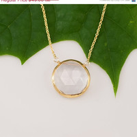 CLEARANCE - Clear Quartz Necklace - 14k Gold Filled Chain - bezel set necklace - gemstone necklace - Gold necklace -