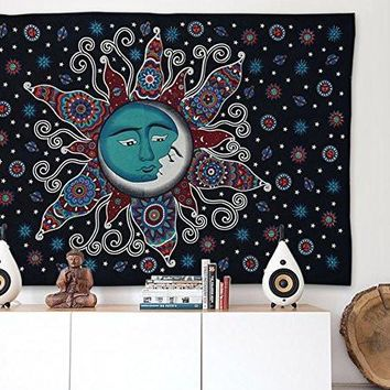 Cilected Magical Moon Sun Design Tapestry Bohemian Mandala Beach Blanket Indian Wall Decor Bedspread Tapestry 210x148cm