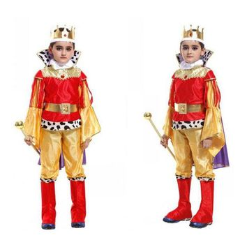 DCCKH6B New Kids King Costumes Halloween Christmas Masquerade Party Arabic Prince Kids Fancy Dress Children Cosplay Costume For Boy