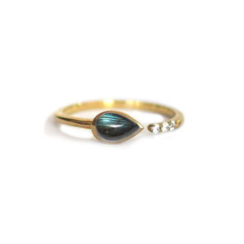Labradorite and Topaz Siren Ring