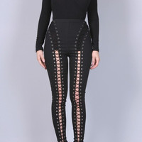 Lace Up Thigh Pants