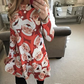 Autumn Winter New Women Chrismas Dresses Long Sleeve O Neck Christmas Tree Snowman Printed Slim Dress Knee Length Big Size F40