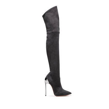 Women's High Boots Techno Blade in Suede Grafite | Casadei