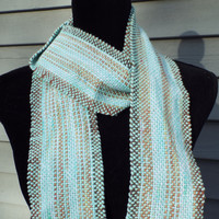 Mint Green and Brown Cotton Scarf