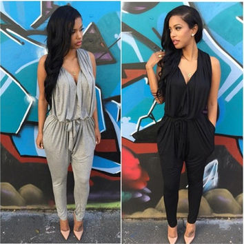 Women's Fashion Sexy Summer Sleeveless V-neck Slim Fit Casual Clubwear Evening Party Jumpsuits = 1932073796
