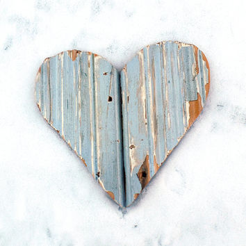 Blue Wooden Heart, Reclaimed Wood Heart, Bohemian Decor, Wood Wall Decor Boho Room Decor, Chippy Heart, Rustic Wall Decor, Boho Heart Decor