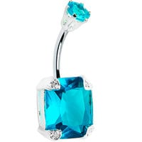 925 Sterling Silver Aqua Cubic Zirconia Square Belly Ring | Body Candy Body Jewelry