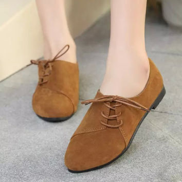 Fashion Oxford Style Side Lace Up Flat Boots