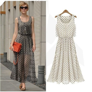New Casual Summer Women Boho Long Maxi Chiffon Polka Dot Beach Dress Party Evening = 1946866180