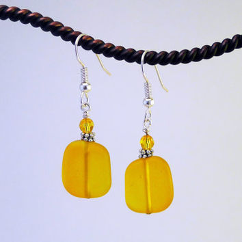 Yellow sea glass earrings tumbled frosted glass beach glass beads beaded jewelry sterling silver