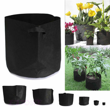 6 size Black Round Fabric Pots Plant Pouch Root Container Grow Bag Aeration Pot Container