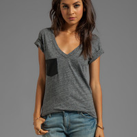 Bobi Supreme Jersey V-Neck Tee With Vegan Leather Pocket in Salk & Pepper
