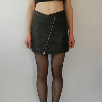 Vintage Leather Mini Skirt, Size XS, High Waisted, 80's, 90's, Zipper, Tumblr, Tumblr Clothing, Rad
