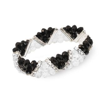 Art Deco Style Bracelet Black & Clear Faceted Beads