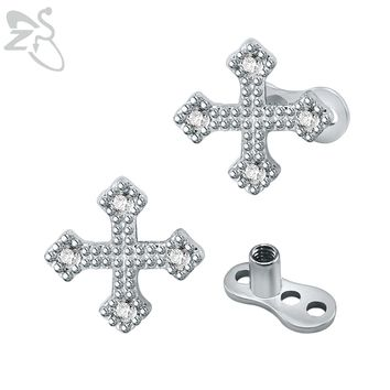 New Design Cross Micro Dermal Anchor Piercings Stainless Steel White Crystal Skin Dermal Piercing Retainers Hide In Jewelry