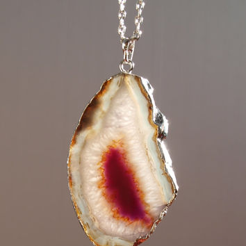 Slice agate pendant Silver plated stone pendant Gemstone jewelry Big agate pendant Boho pendant Gift under 20 Christmas gift for her