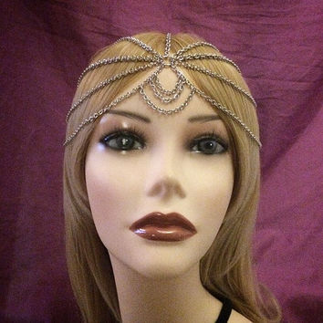 1920s Silver Headchain Flapper Gatsby 1920's stye art deco goddess head chain band headband 20s headpiece piece 20's jazz era twenties