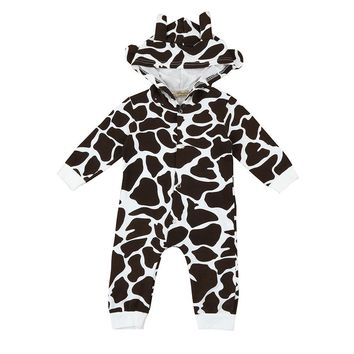 Baby boys romper 2017 Toddler Newborn Baby Boys Girls Cow Cartoon Hooded Rompers Outfits baby Clothes