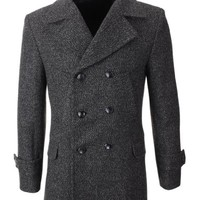 FLATSEVEN Mens Winter Wool Blend Double Breasted Pea Coat