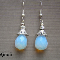 Moon  Moonstone & Silver Dangle Bohemian Earrings by 0Minali0