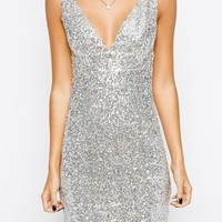 True Decadence Petite Metallic Deep V Shift Dress
