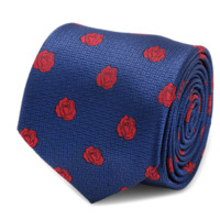 Beauty and the Beast Blue and Red Rose Men's Tie BY DISNEY