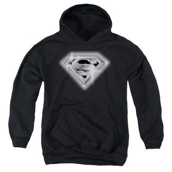 ac spbest Superman - Bling Shield Youth Pull Over Hoodie