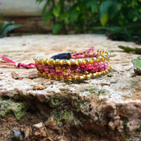 Rainbow Swarovski on a warm colorful bracelet, our Romantic Fall Swarovski bracelet