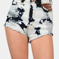 Bleached Bum Shorts - Blue at Necessary Clothing