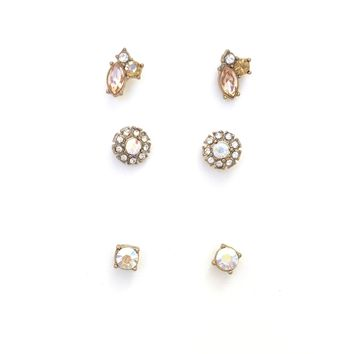 Opal Stud Crystal Earrings
