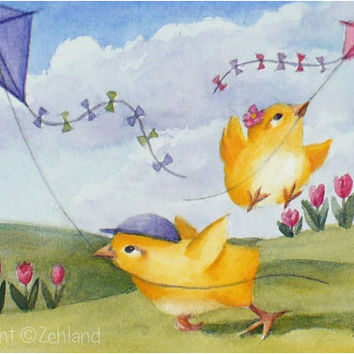 Animal Art Print  8x10 Baby Chicks Kite Flying Spring Decor by Janet Zeh