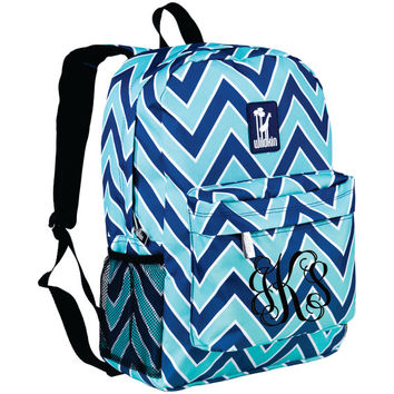 Monogram Backpack and Lunch Bag Set - Wildkin - Personalized - Chevron Breeze - Back to School Crackerjack