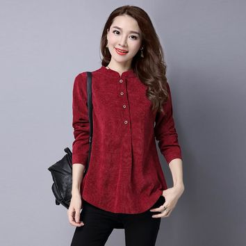 Fashion Shirt Women Tops Long Sleeve Stand Collar Blouse Ladies Casual Corduroy Blouses Shirt Camisa Blusa Camisetas Femininas