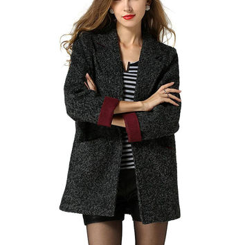 Dark Grey Woolen Duster Coat