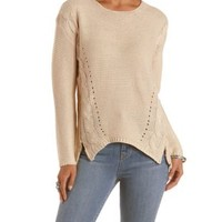 Ivory Cable Knit Zipper-Trim Sweater by Charlotte Russe