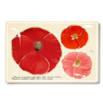Three Paper Pink Poppies Decoupage Glass Tray
