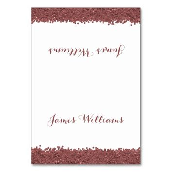 Custom Brown Marsala White Wedding Place Cards Table Cards