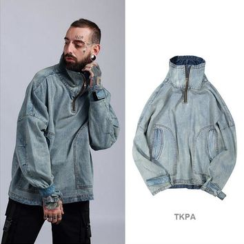 TKPA Men Spring Jackets Denim Blue Jean Oversize Coats Turtleneck Washed Vintage Light Blue Jacket