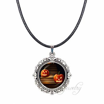 Fall Autumn Pumpkin Necklaces Halloween Gifts Pumpkin Jack-o-lantern Glass Dome Pendant Wax Rope Necklace Holiday Jewelry