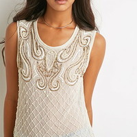 Faux Pearl Beaded Top