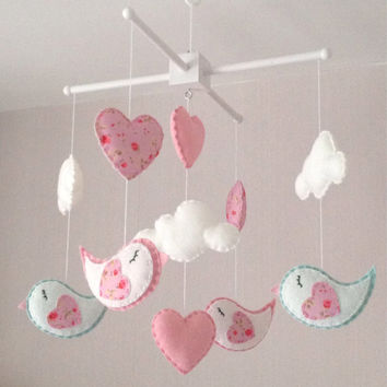 Baby mobile - Cot mobile  -  Bird Mobile - Cloud Mobile - Baby girl mobile - Nursery Decor - Pink Nursery - Pink baby mobile