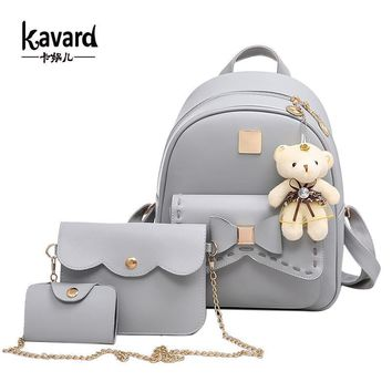Women Leather 3 Piece Backpack / Purse / Wallet Set with Bow Detailing