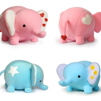 Blue or Pink Elephant plush soft toy