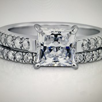 2CT Princess Cut Russian Lab Diamond Bridal Set Wedding Band Ring