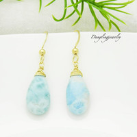Gold Larimar Earrings, Larimar Dangle Earrings, Healing Crystal Earrings, Healing Jewelry for Mother, Mother Day Earrings, Genuine Gemstone